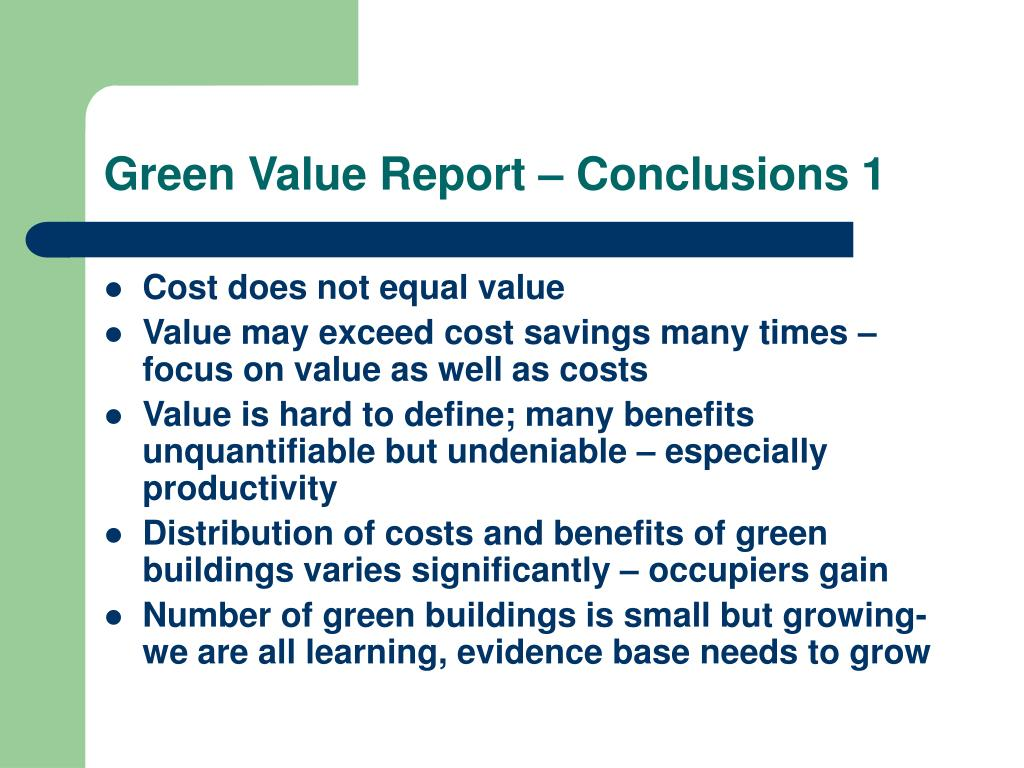 Green Value Report – Conclusions 1