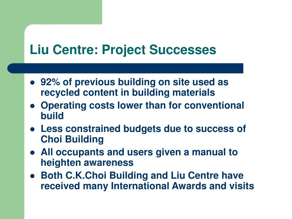 Liu Centre: Project Successes