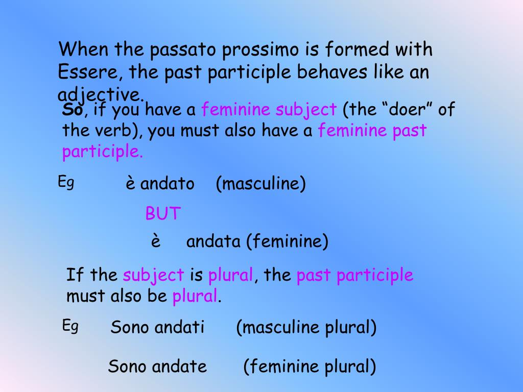 When the passato prossimo is formed with Essere, the past participle behaves like an adjective.