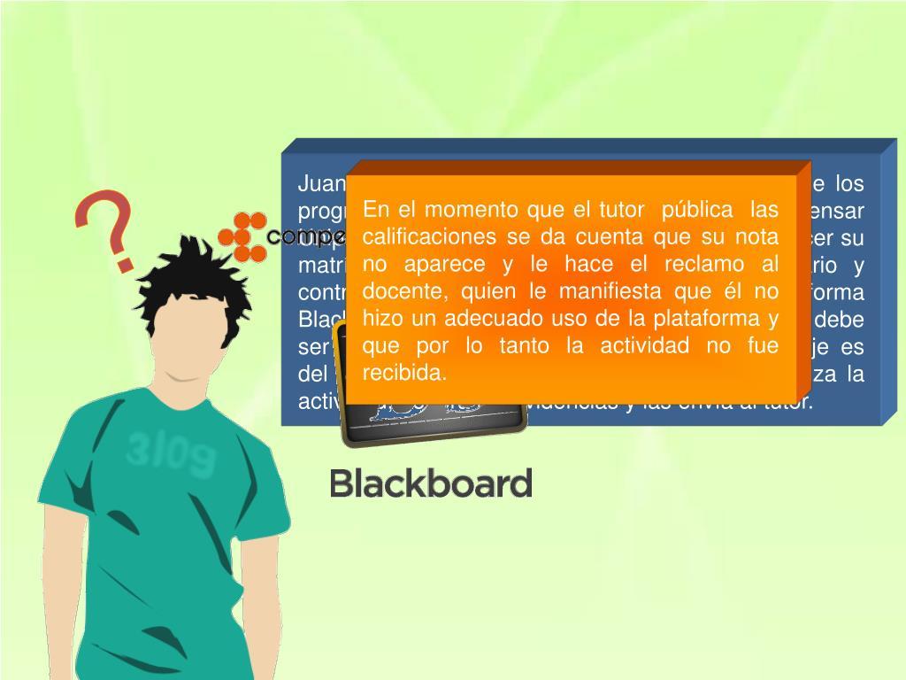 Juan Camilo Ortiz acaba de inscribirse en uno de los programas de modalidad virtual que ofrece  Compensar Unipanamericana  Institución  Universitaria,  al hacer su matrícula le es asignado un nombre de usuario y contraseña con el fin de tener acceso a la plataforma