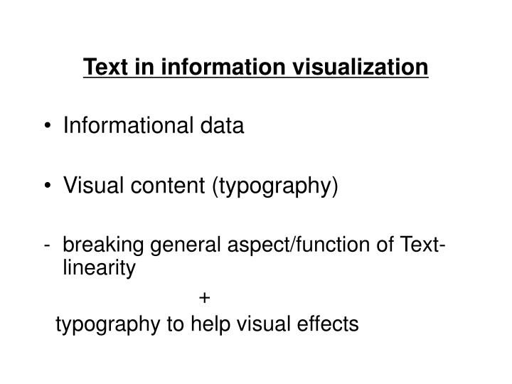 Text in information visualization
