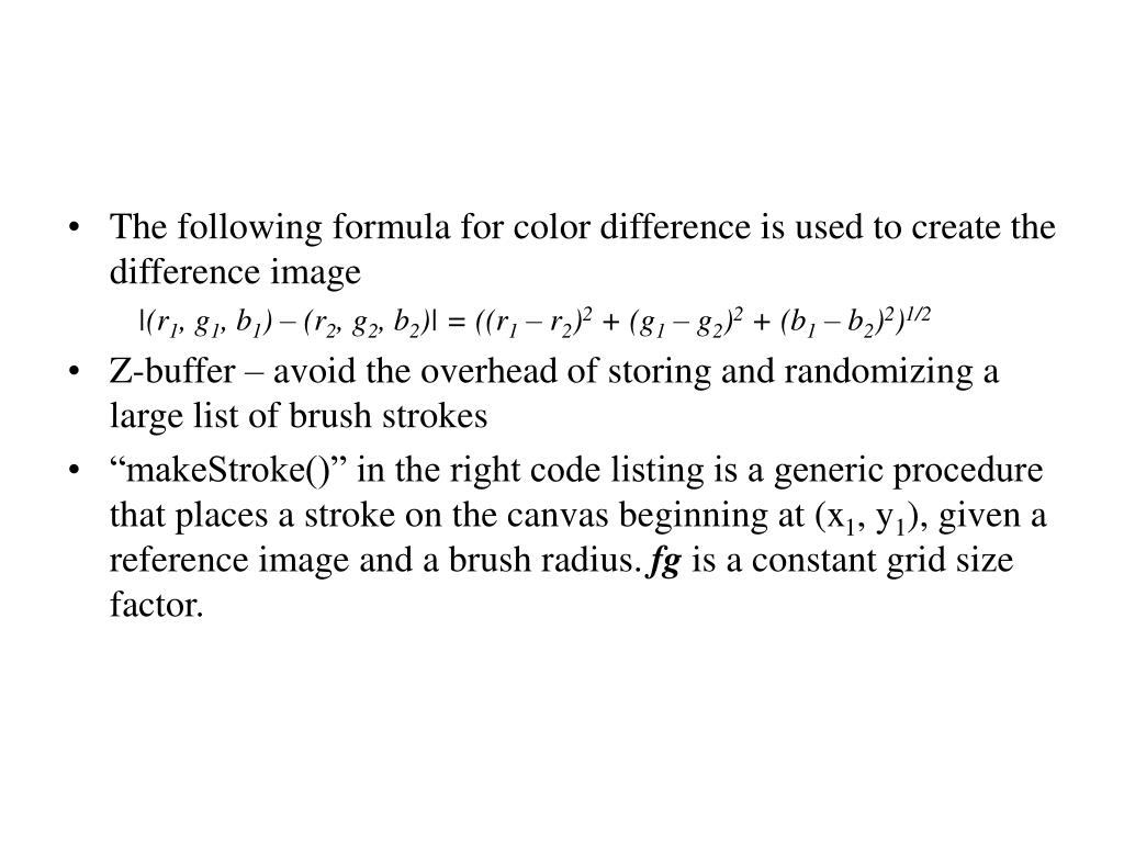 The following formula for color difference is used to create the difference image