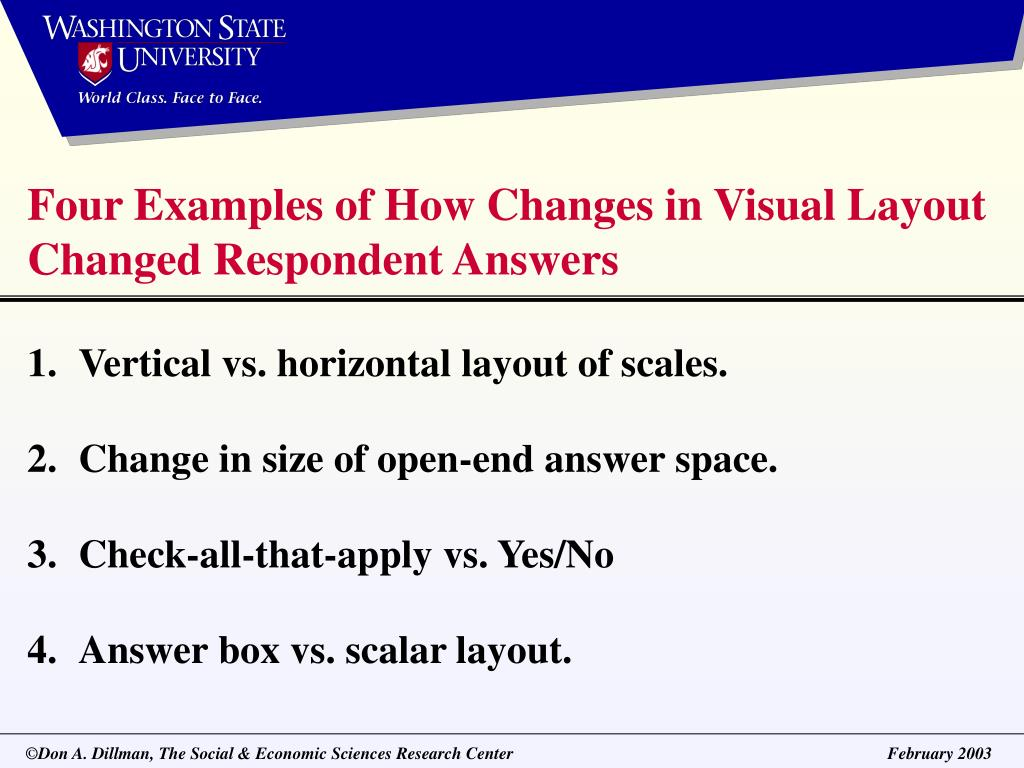 Four Examples of How Changes in Visual Layout Changed Respondent Answers