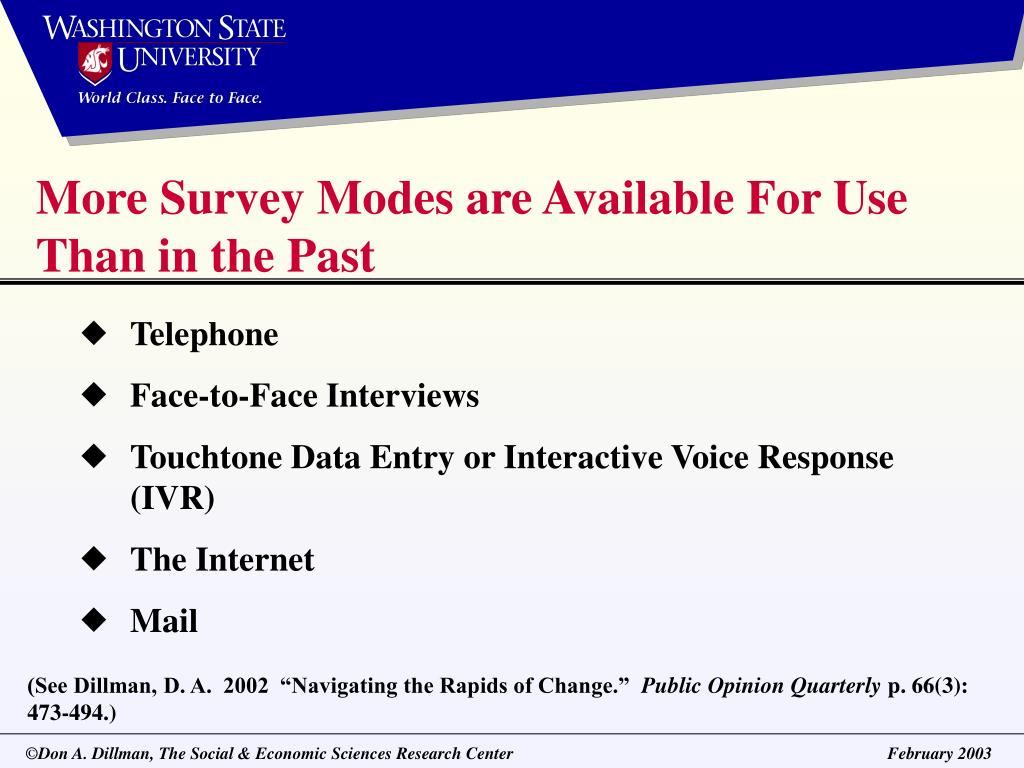 More Survey Modes are Available For Use Than in the Past