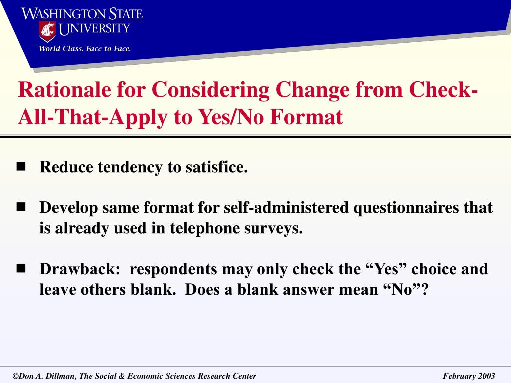 Rationale for Considering Change from Check-All-That-Apply to Yes/No Format