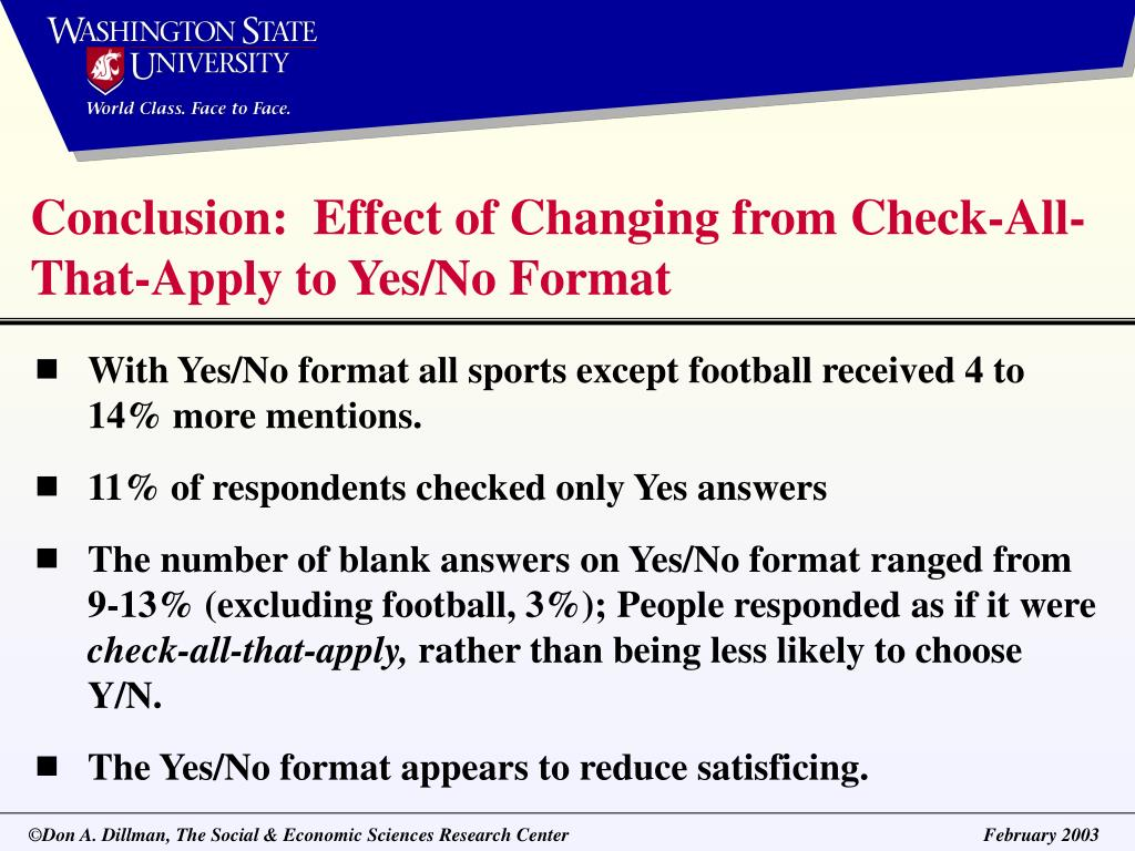 Conclusion:  Effect of Changing from Check-All-That-Apply to Yes/No Format
