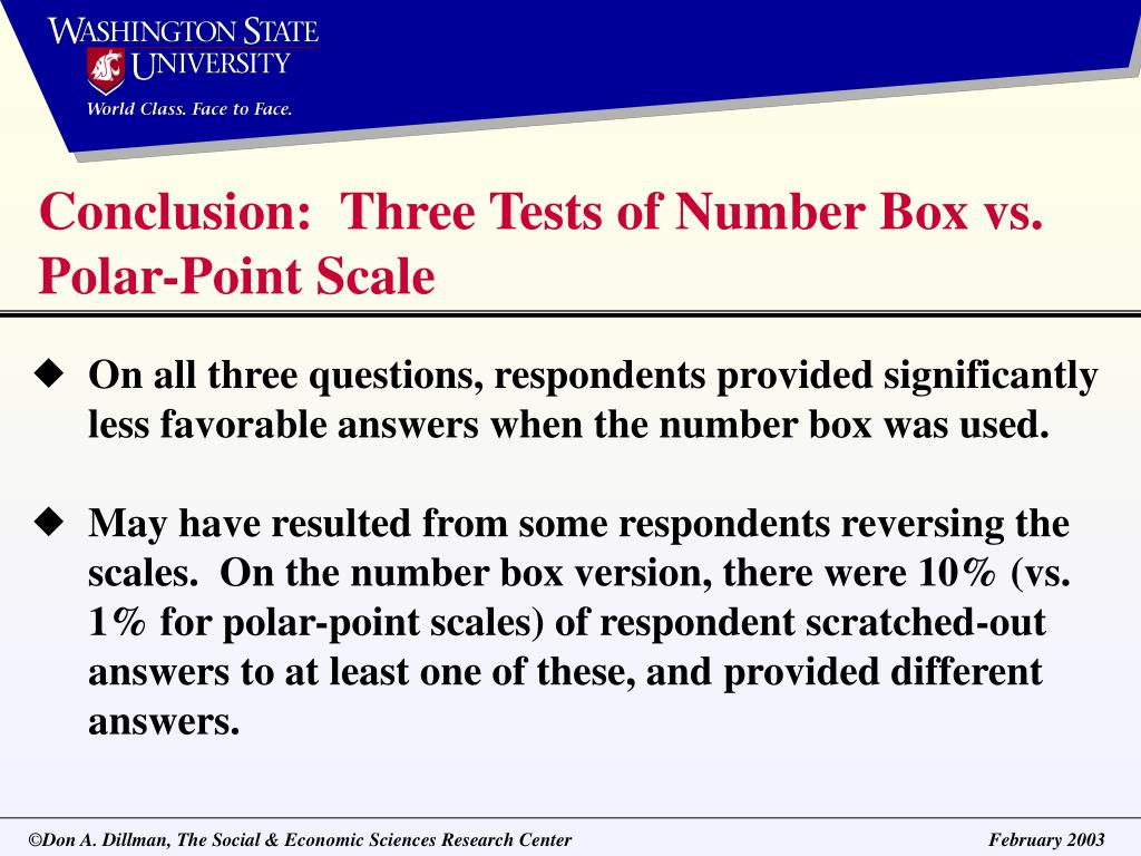 Conclusion:  Three Tests of Number Box vs. Polar-Point Scale