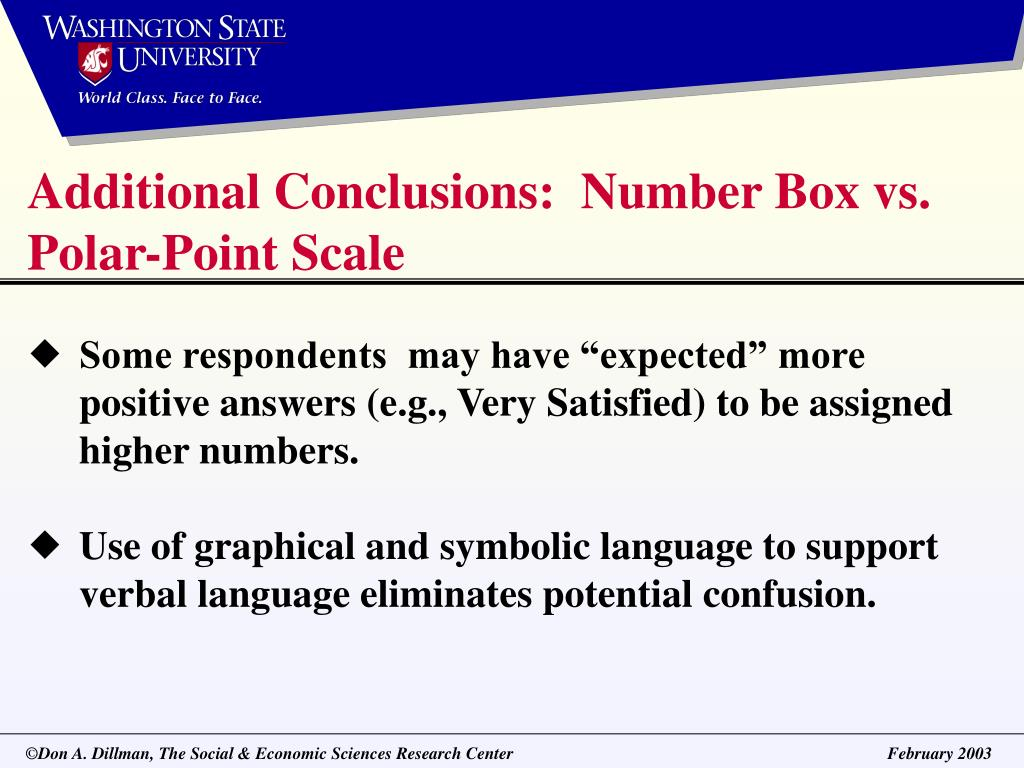 Additional Conclusions:  Number Box vs. Polar-Point Scale