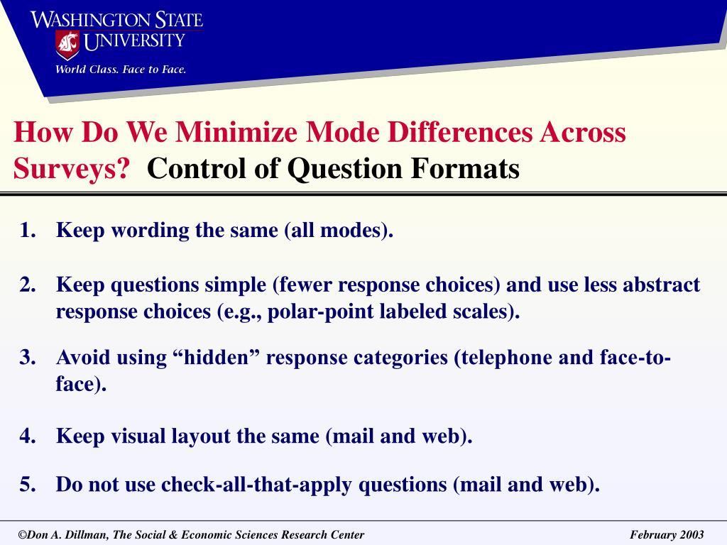 How Do We Minimize Mode Differences Across Surveys?