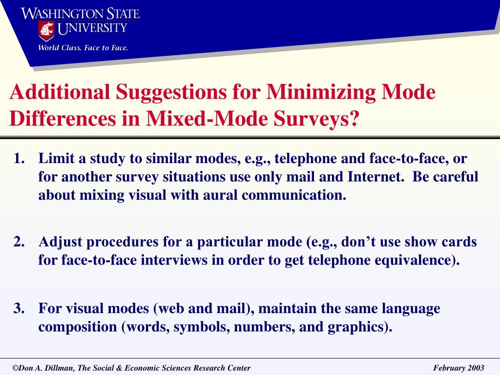 Additional Suggestions for Minimizing Mode Differences in Mixed-Mode Surveys?