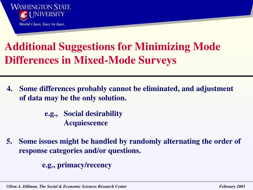 Additional Suggestions for Minimizing Mode Differences in Mixed-Mode Surveys