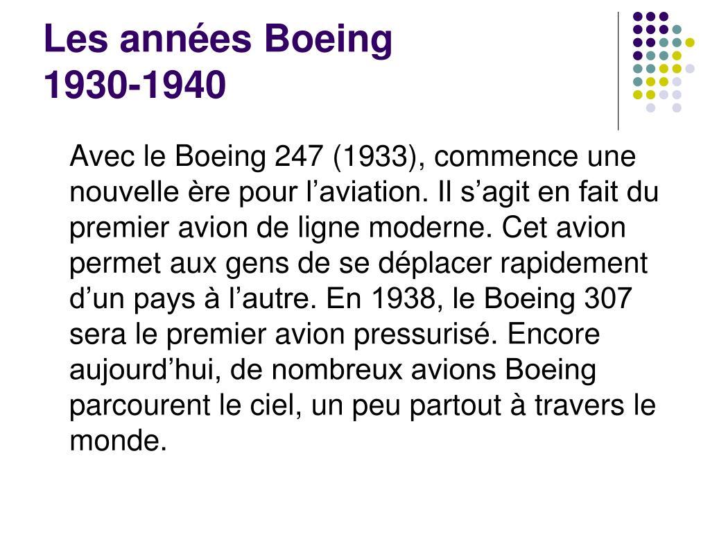 Les années Boeing