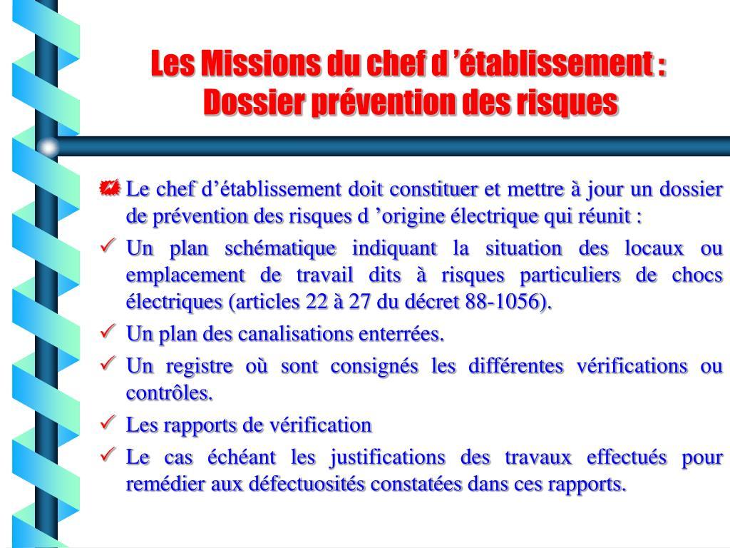 Les Missions du chef d'établissement :