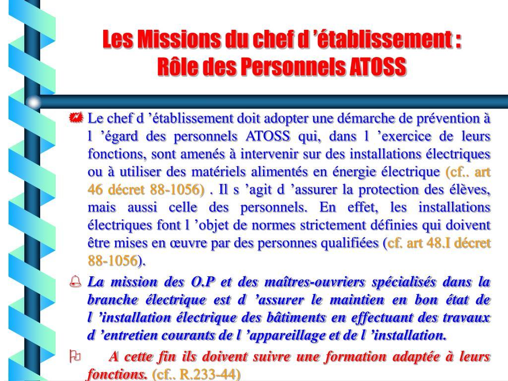 Les Missions du chef d'établissement