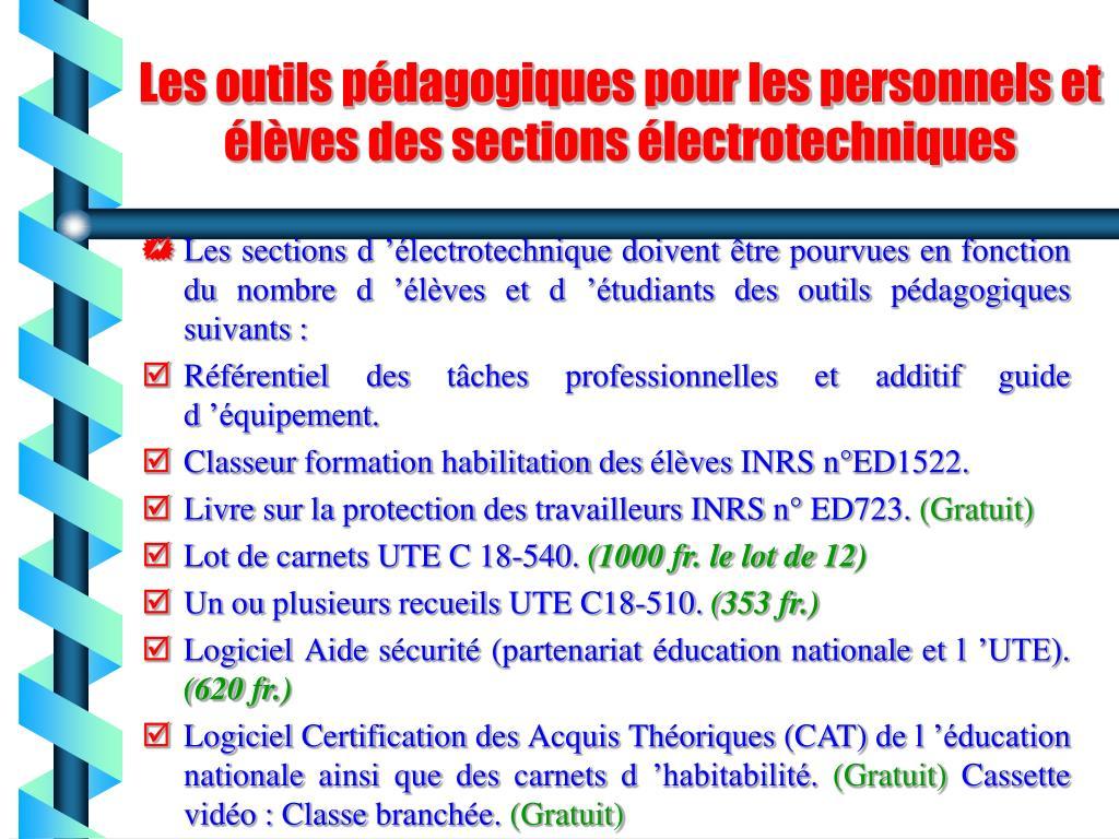 Les outils pédagogiques pour les personnels et élèves des sections électrotechniques