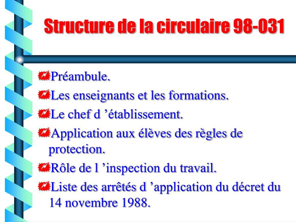 Structure de la circulaire 98-031