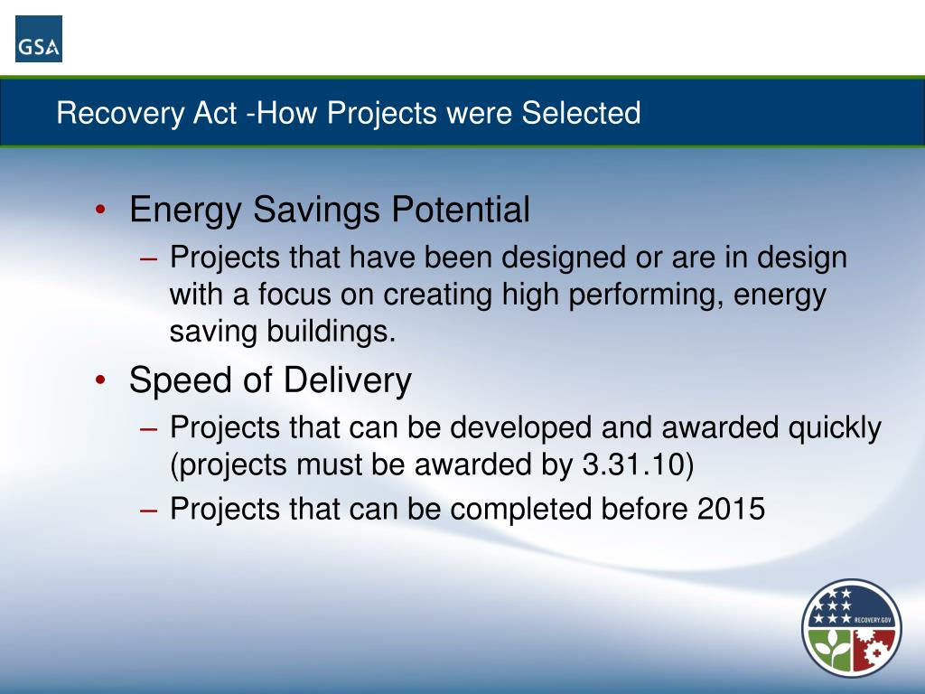 Recovery Act -How Projects were Selected