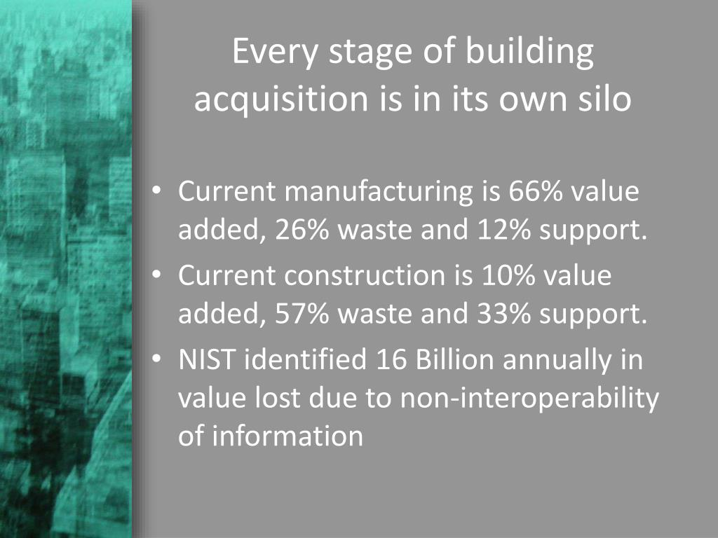 Every stage of building acquisition is in its own silo