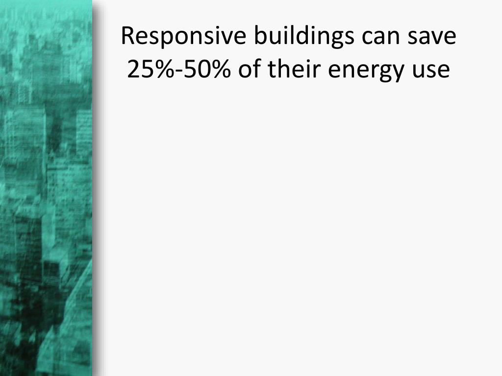 Responsive buildings can save 25%-50% of their energy use