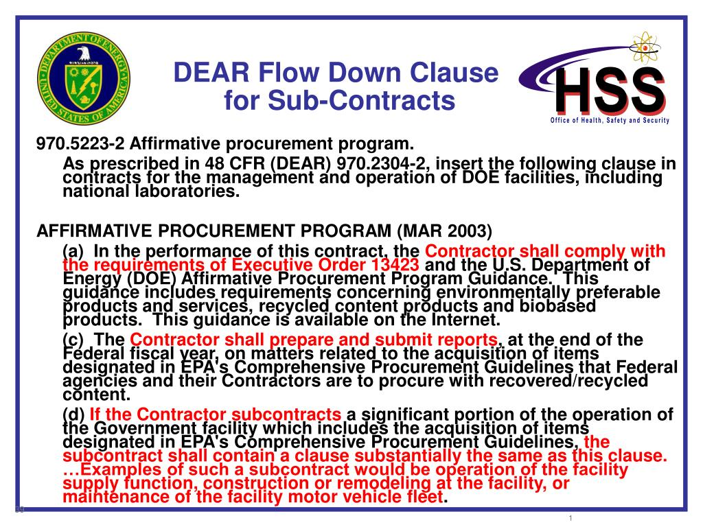 DEAR Flow Down Clause