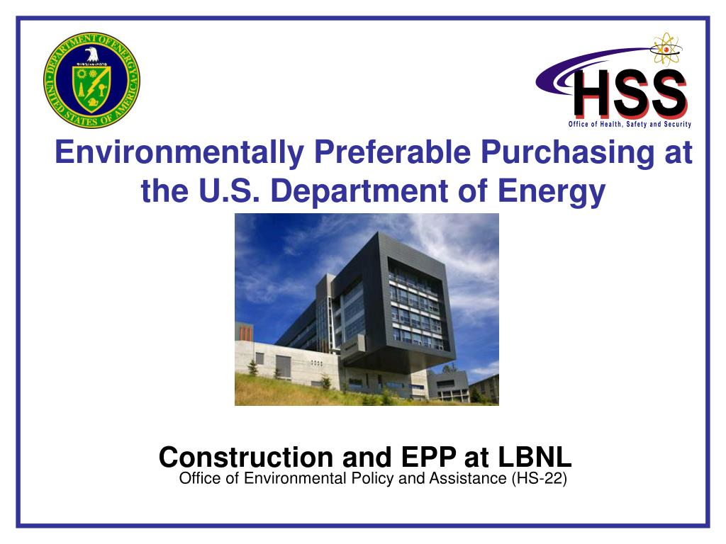 Environmentally Preferable Purchasing at the U.S. Department of Energy