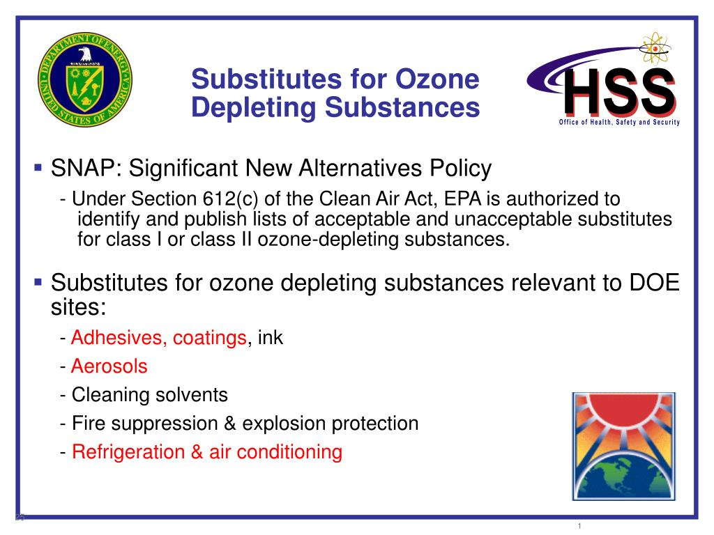 Substitutes for Ozone Depleting Substances