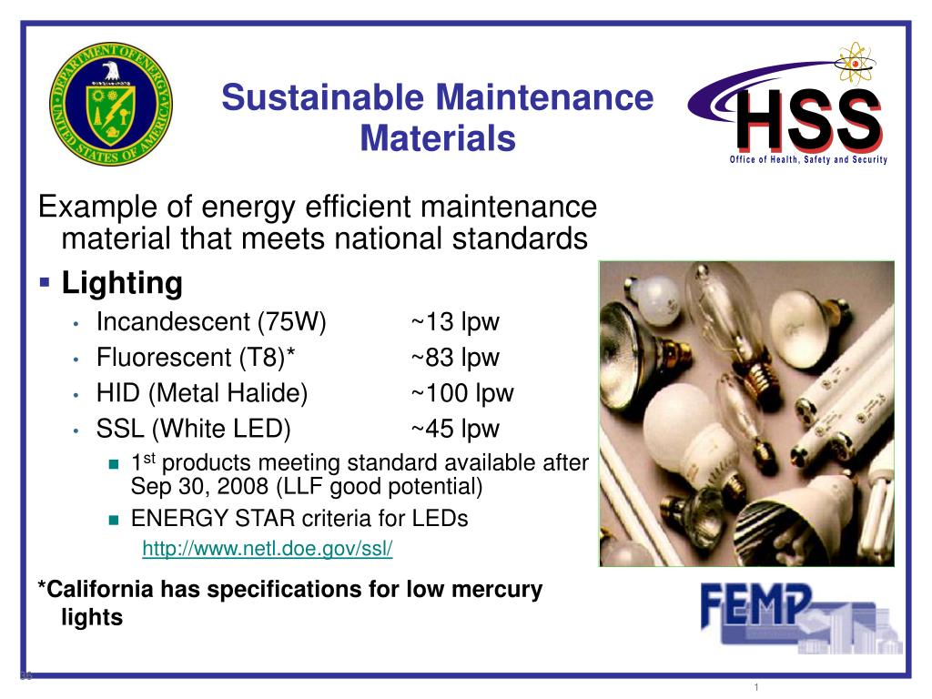 Sustainable Maintenance Materials