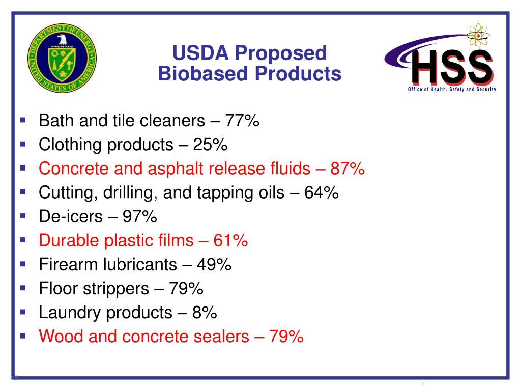 USDA Proposed Biobased Products