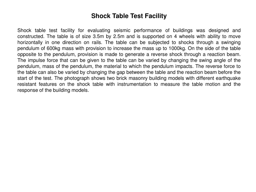 Shock Table Test Facility