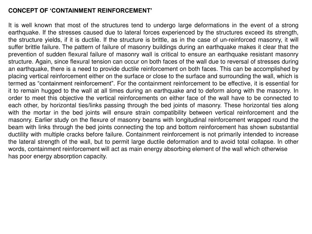 CONCEPT OF 'CONTAINMENT REINFORCEMENT'