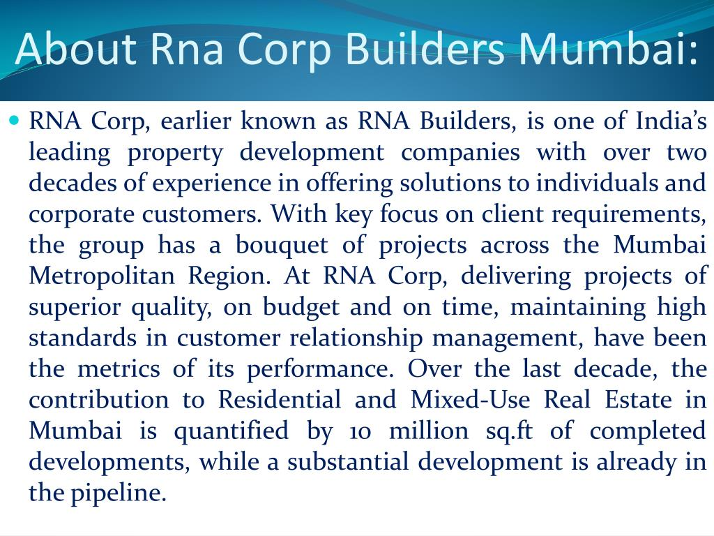 About Rna Corp Builders Mumbai: