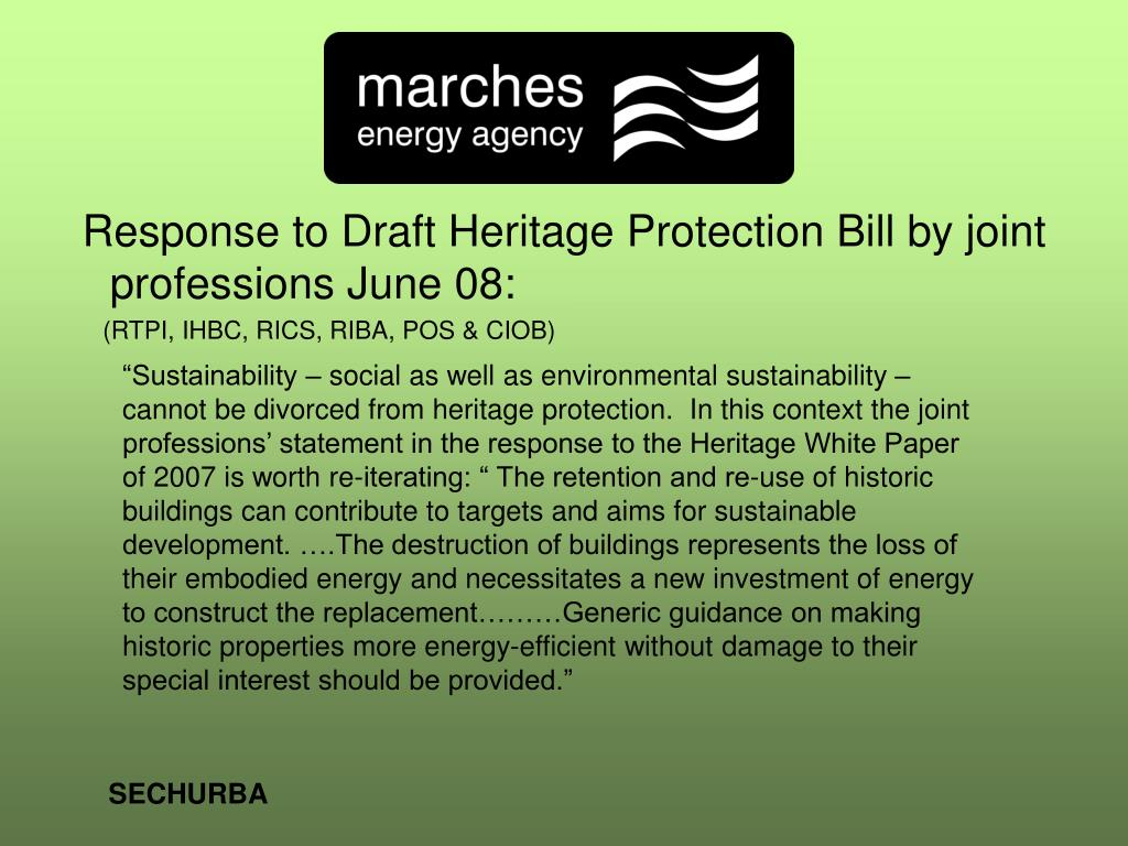 Response to Draft Heritage Protection Bill by joint professions June 08: