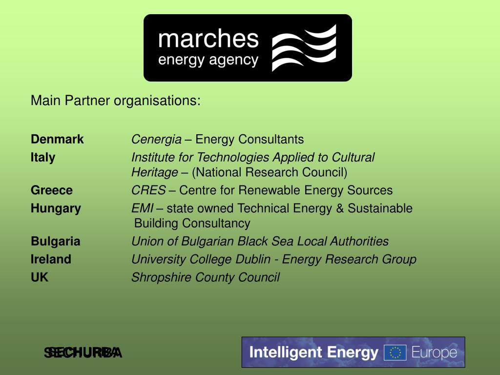 Main Partner organisations: