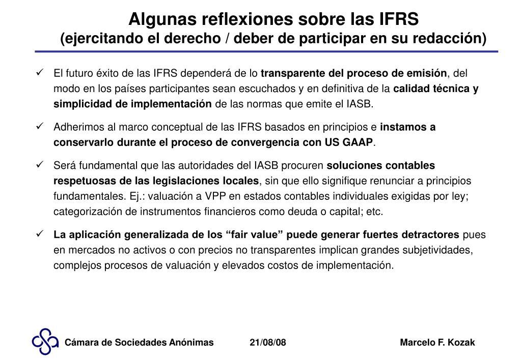 Algunas reflexiones sobre las IFRS
