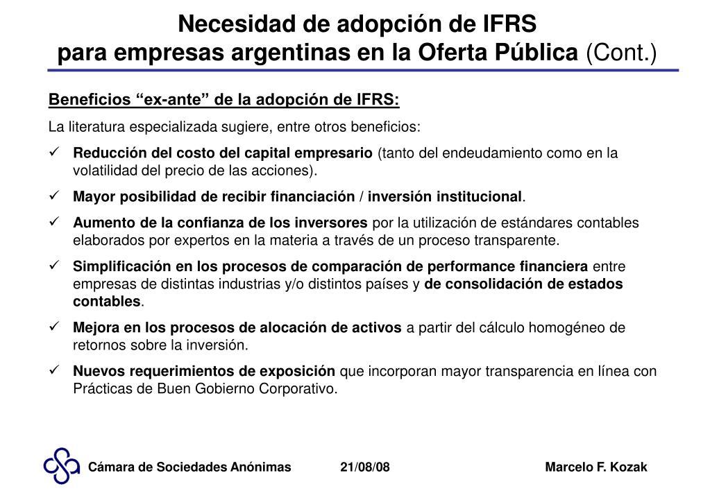 Necesidad de adopción de IFRS