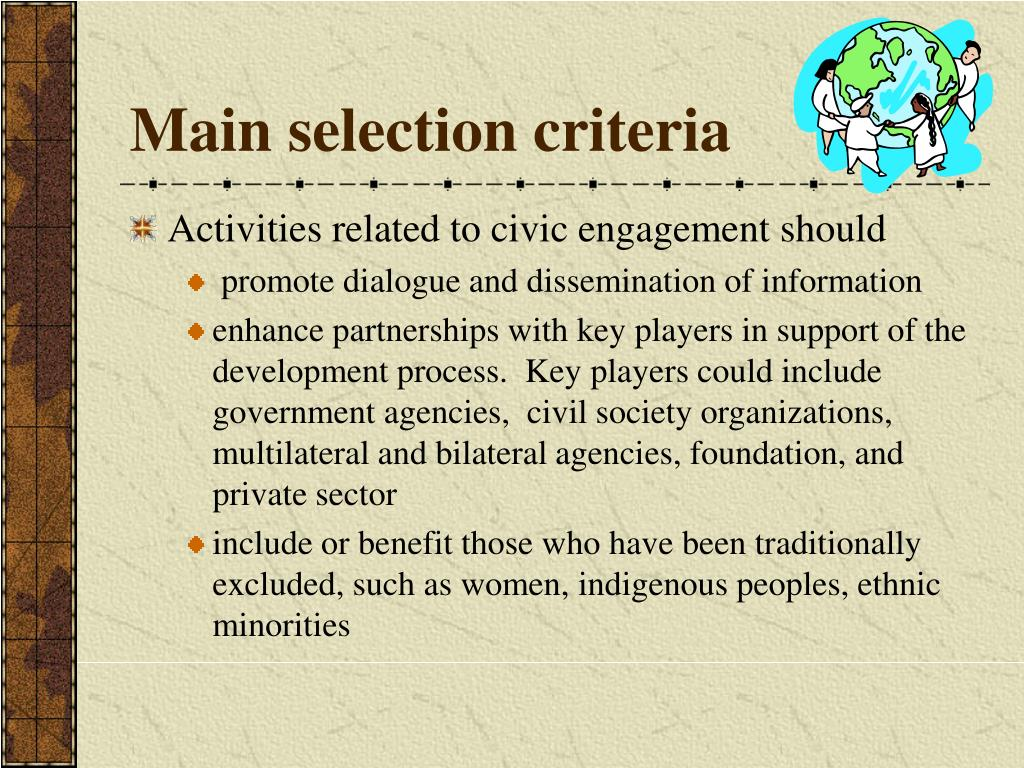 Main selection criteria