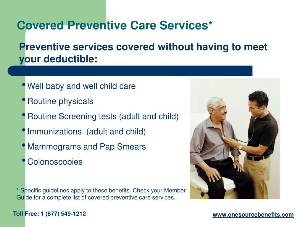 Covered Preventive Care Services*