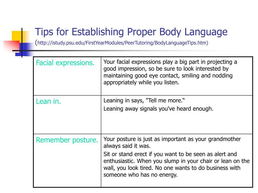 Tips for Establishing Proper Body Language