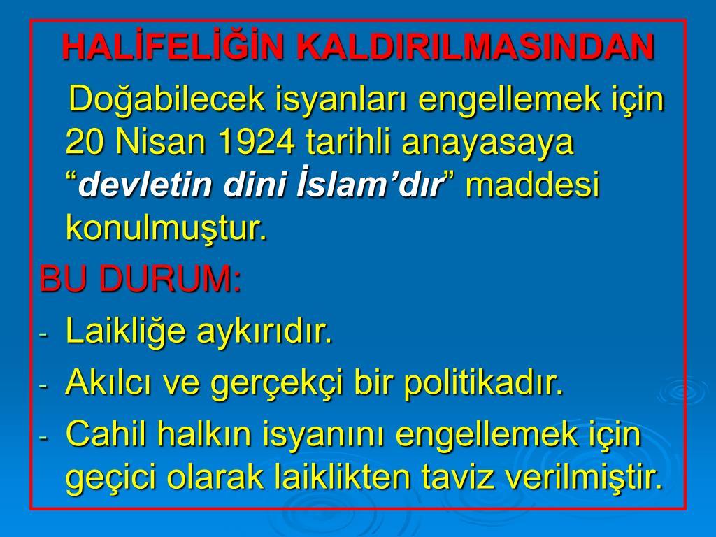 HALİFELİĞİN KALDIRILMASINDAN