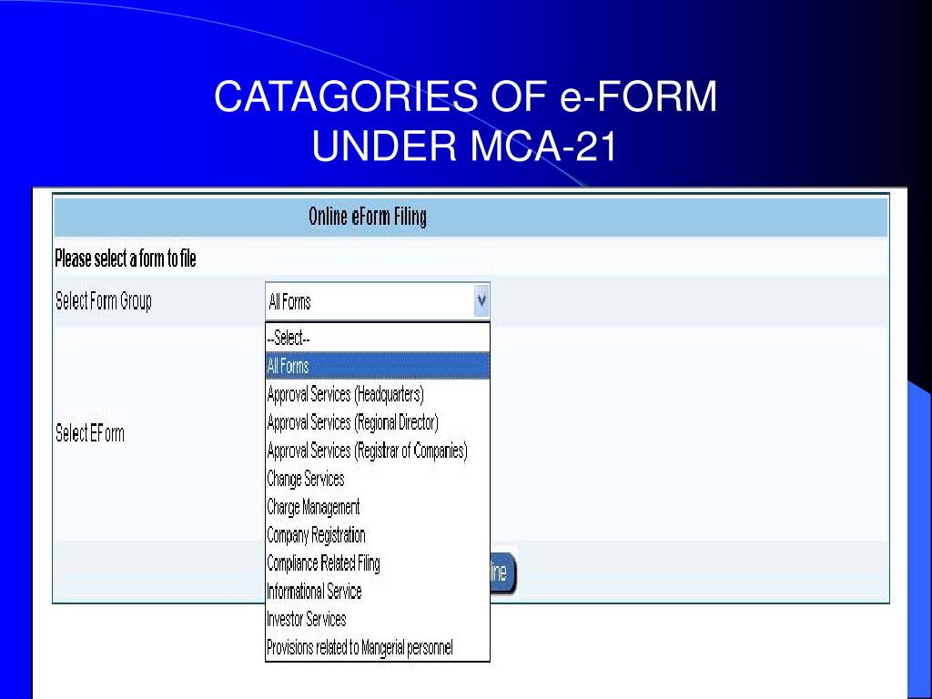 CATAGORIES OF e-FORM