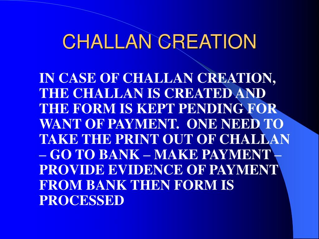 CHALLAN CREATION