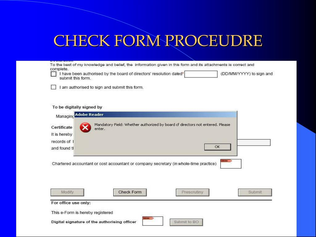 CHECK FORM PROCEUDRE