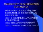 mandatory requirements for mca 2144