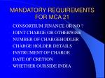 mandatory requirements for mca 2146