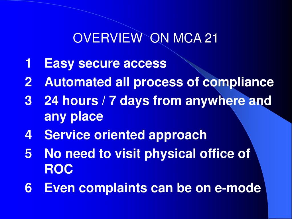 OVERVIEW  ON MCA 21