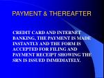 payment thereafter