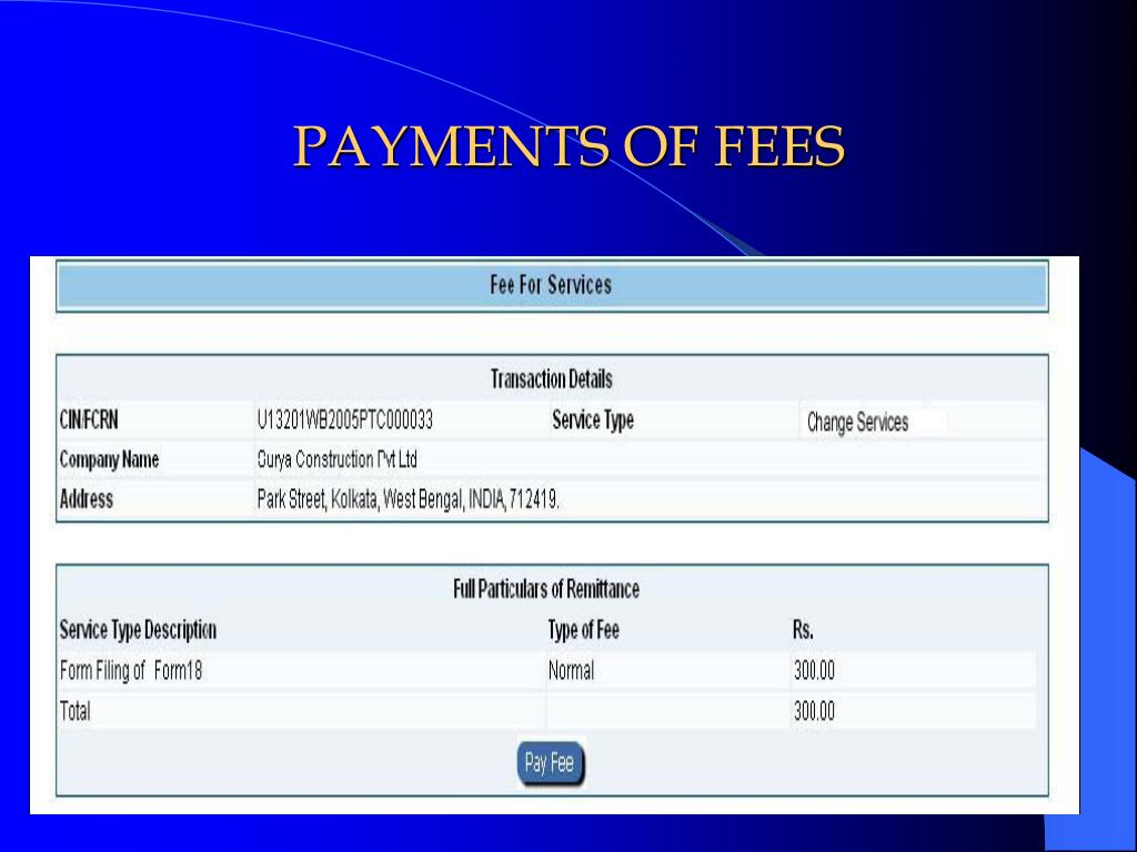 PAYMENTS OF FEES