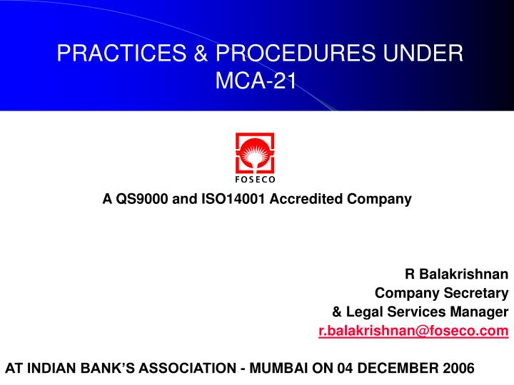 Practices procedures under mca 212