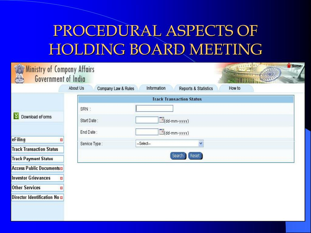PROCEDURAL ASPECTS OF HOLDING BOARD MEETING