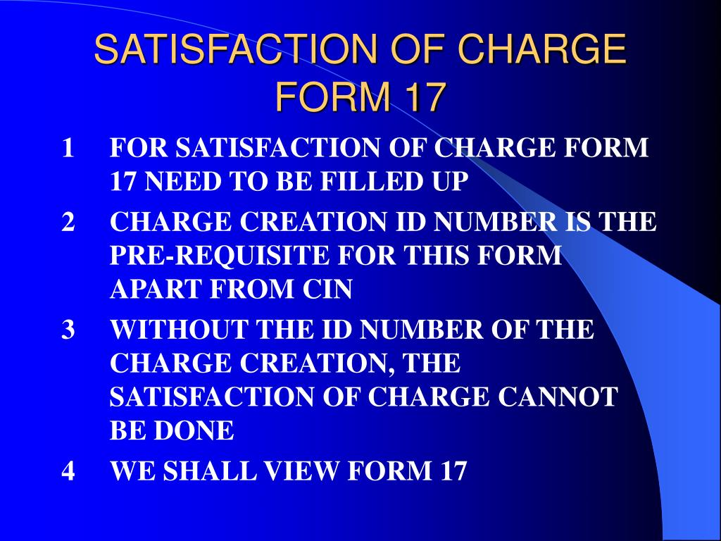 SATISFACTION OF CHARGE
